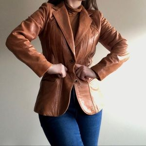 1970s Leather Blazer Jacket